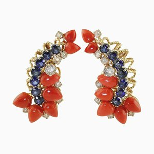 Rose & White Gold Clip-On Earrings with Blue Sapphires, Diamonds & Red Coral, Set of 2
