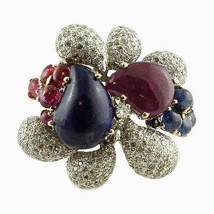 14 Karat Weißgold Ring mit Diamanten, Rubinen, Blauen Saphiren & Lapislazuli
