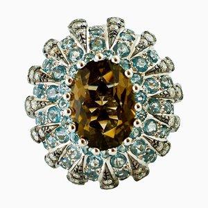Diamant, Aquamarin, Rauchtopas & Weißgold Cluster-Ring