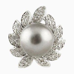 Weißer Diamant, Graue Perle & Weißgold Cluster-Ring
