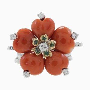 Diamond, Emerald, Coral & Gold Ring