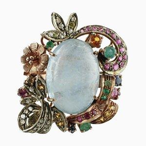 Diamant, Rubin, Smaragd, Saphir, Milch Aquamarin, Gold & Silber Ring