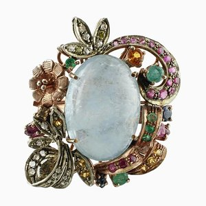 Diamond, Ruby, Emerald, Sapphire, Milk Aquamarine, Gold & Silver Ring