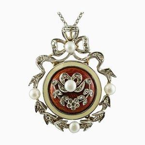 Halskette mit Anhänger aus Diamant, Perle & 14 Karat Weißgold
