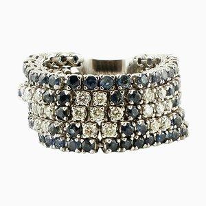 14 Karat White Gold Band Ring with Diamonds & Blue Sapphires