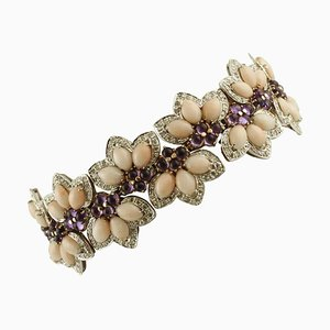 White & Rose Gold Flower Bracelet with White Diamonds, Amethysts and Pink Coral Drops