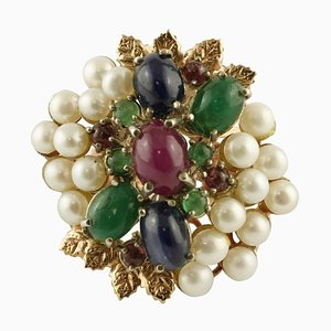 Rose Gold and Silver Cocktail Ring with Sapphires, Rubies, Emeralds & Pearls