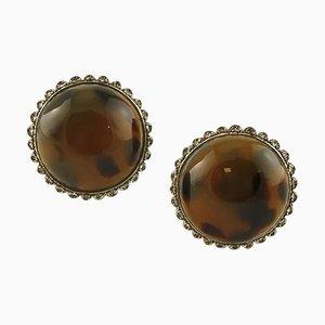 Ohrringe aus Bakelit, Diamant, 9 Karat Roségold und Silber, 2er Set