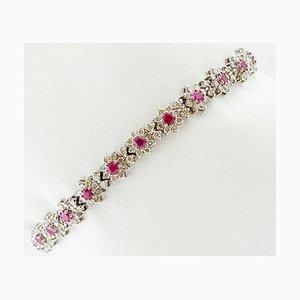 Bracelet Link en Or Blanc avec Diamants et Rubis