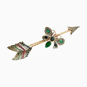 Rose Gold and Silver Arrow Brooch with Diamonds, Rubies, Emeralds & Sapphires