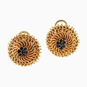 Saphire und 18 Karat Gelbgold Nest Ohrringe, 2er Set