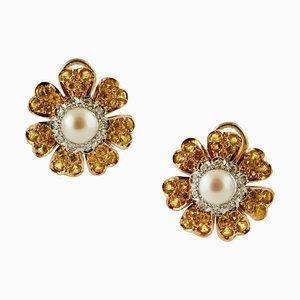 Diamond, Yellow Sapphire, Pearl & Yellow Gold Flower Earrings, Set of 2