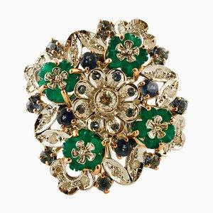 Roségold Cocktail Ring mit Diamanten, Saphiren & grünem Achat