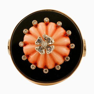 Vintage Onyx, Coral, Diamond & Yellow Gold Ring