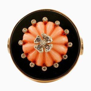 Vintage Ring aus Onyx, Koralle, Diamant & Gelbgold