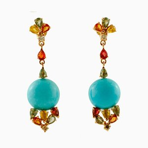 14K Yellow Gold Pendant Earrings with Turquoise, Diamonds & Colored Sapphires, Set of 2