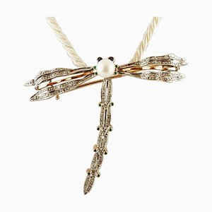 Gold and Silver Dragonfly Brooch or Pendant with Diamonds, Sapphires, Tsavorite & Pearl