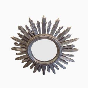 Specchio a forma di sole in resina color argento