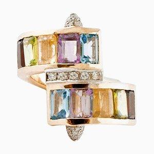 Vintage Ring aus Topas, Amethyst, Granat, Aquamarin, Diamant & Gelbgold