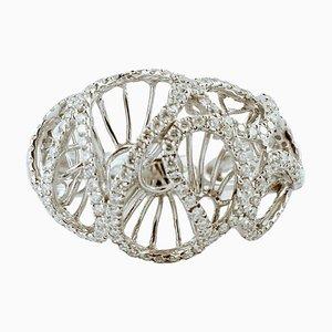 Diamond & 18K White Gold Dome Ring