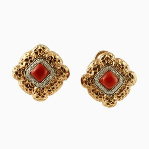 Diamonds, Rubrum Coral, 14K Yellow and White Gold Stud Earrings, Set of 2