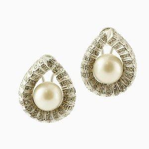 Orecchini a forma di diamante, perla dei mari del sud e oro bianco 9K, set di 2
