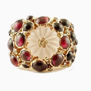 Diamond, Garnet, Rock Crystal & 14K Yellow Gold Ring