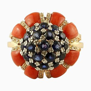 Diamant, Blauer Saphir, Koralle & 14 Karat Gelbgold Ring