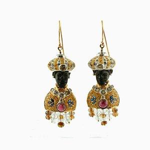 Orecchini Moretto in oro bianco e giallo 14K con diamanti, zaffiri blu, granati, cristallo di rocca ed ebano, set di 2