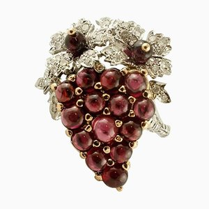 14K Ring aus Weiß- & Gelbgold mit Diamanten & Granaten