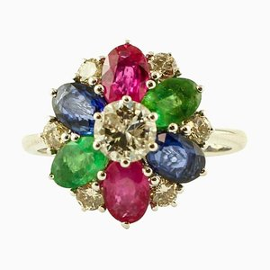 Diamant, Smaragd, Rubin, Blauer Saphir & 14 Karat Weißgold Ring