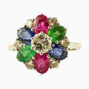 Diamond, Emerald, Ruby, Blue Sapphire & 14K White Gold Ring