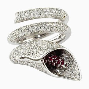 White Gold Lily Ring with Diamonds & Rubies