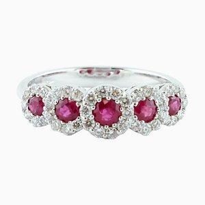 18 Karat White Gold Ring with Diamonds & Rubies