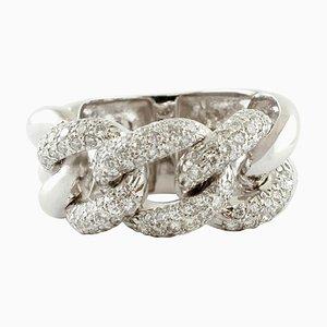 White Diamond & 18 Karat White Gold Gourmette Ring
