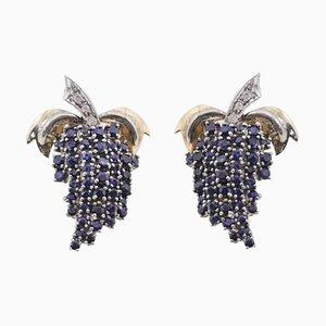 Boucles d'Oreilles en Or avec Diamants et Saphirs, Set de 2