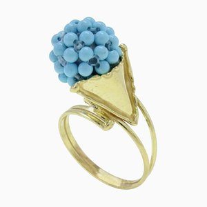 18K Gold Cluster Ring with Stones
