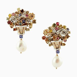 Diamonds, Multicolor Sapphires, Tanzanite, Pearls 14K White and Rose Gold Earrings, Set of 2