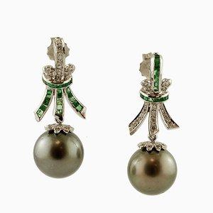 Boucles d'Oreilles Diamants, Émeraudes, Perles Grises et Or Blanc 18 Carats, Set de 2