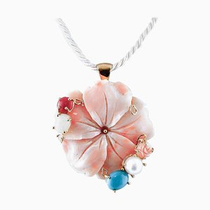 18 Karat Gold Pendant Necklace with Engraved Pink Coral, Pearl & Colored Stones
