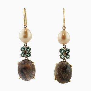 Boucles d'Oreilles Diamants, Topazes, Saphirs Fumés, Perles, Or Blanc et Rose 14 Carats, Set de 2
