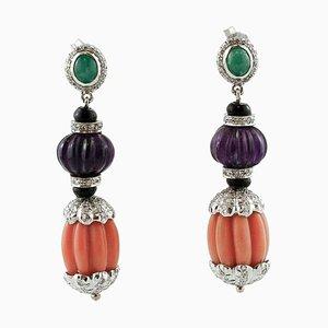 Diamonds, Emeralds, Amethysts, Onyx, Coral and 14 Karat White Gold Dangle Earrings, Set of 2