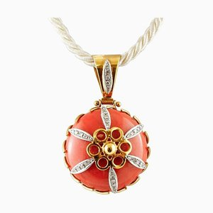 18 Karat Yellow Gold Pendant Necklace with Orange Coral & Diamonds