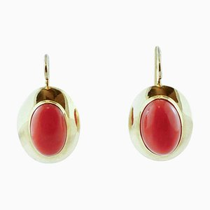 18 Karat Yellow Gold & Red Coral Stud Earrings, Set of 2