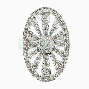 Ring aus Weißem Diamanten & 18 Karat Weißgold