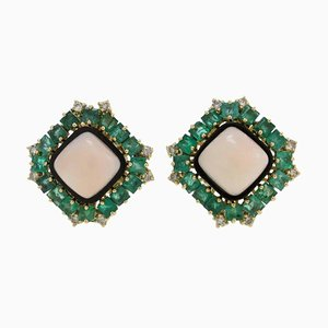 Gold Clip-On Earrings with White Diamonds, Emeralds, Square Pink Coral & Onyx, Set of 2