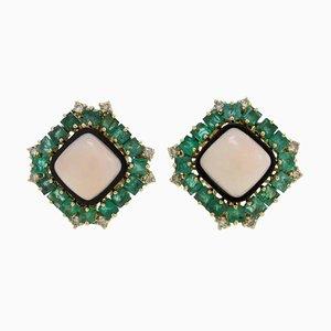 Goldene Clip-On Ohrringe mit Weißen Diamanten, Smaragden, Quadratischer Rosa Koralle & Onyx, 2er Set