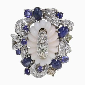 Diamond, Sapphire, Coral and Gold Ring