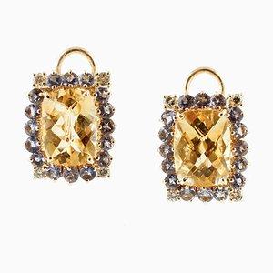 Boucles d'Oreilles Diamants, Tanzanite, Topazes Jaunes et Or Jaune 14 Carats, Set de 2