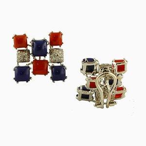 Boucles d'Oreilles Diamants, Corail Rouge, Lapis Lazuli et Or Blanc 14 Carat, Set de 2